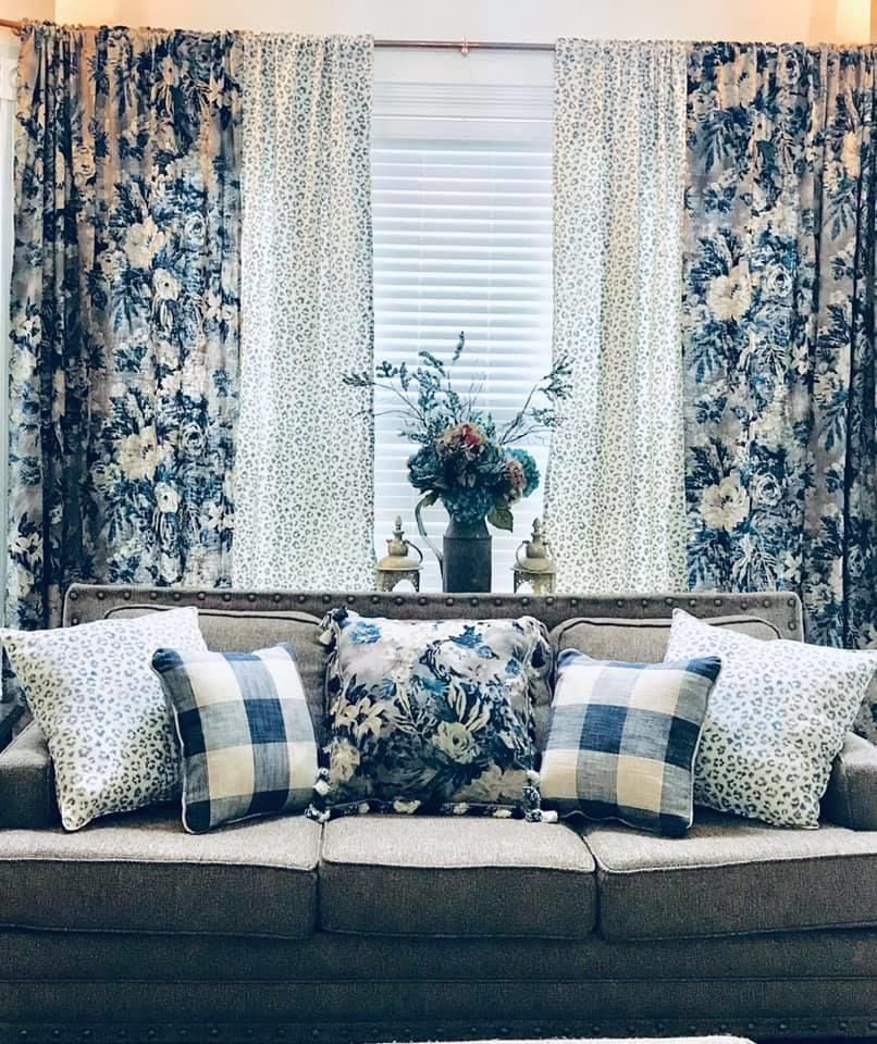 Navy Plaid Floral And Leopard Living Room Blue Curtains Living Room French Country Decorating Living Room Modern Farmhouse Dining Room