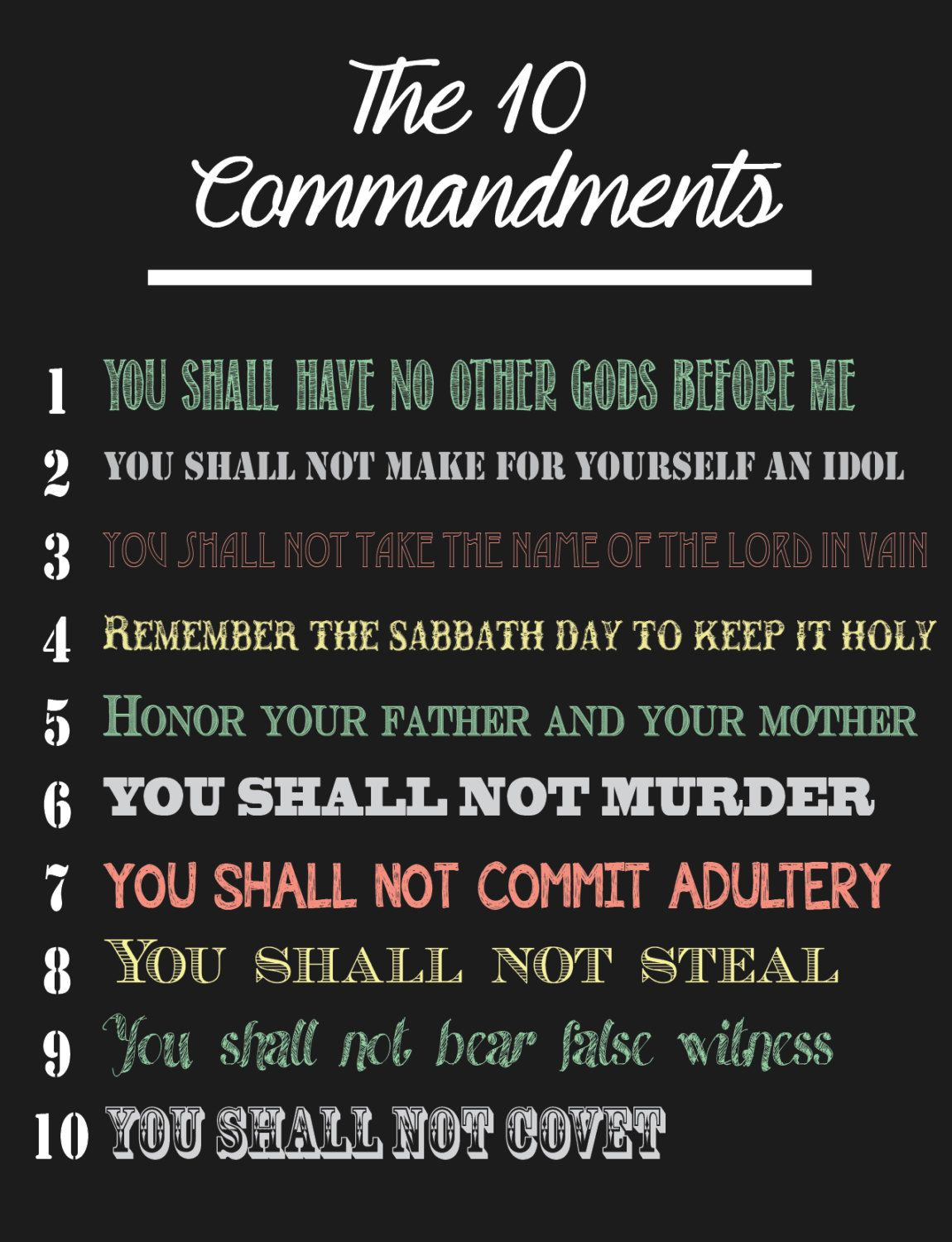 Ten Commandments Print By Printedpoppiedesigns On Etsy