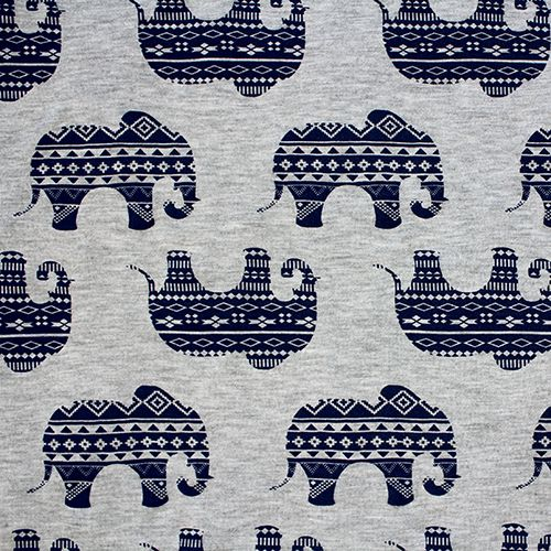"""Navy Blue Ethnic Elephants on Heather Gray Cotton Jersey Blend Knit Fabric - Love this print!  Ethnic designed elephants in navy blue on heather gray rayon jersey blend knit.  Fabric is soft and drapey, light to mid weight, with a nice stretch.  Elephants measure 3 1/4"""" (see image for scale).  A versatile fabric that is great for many uses!  ::  $6.25"""