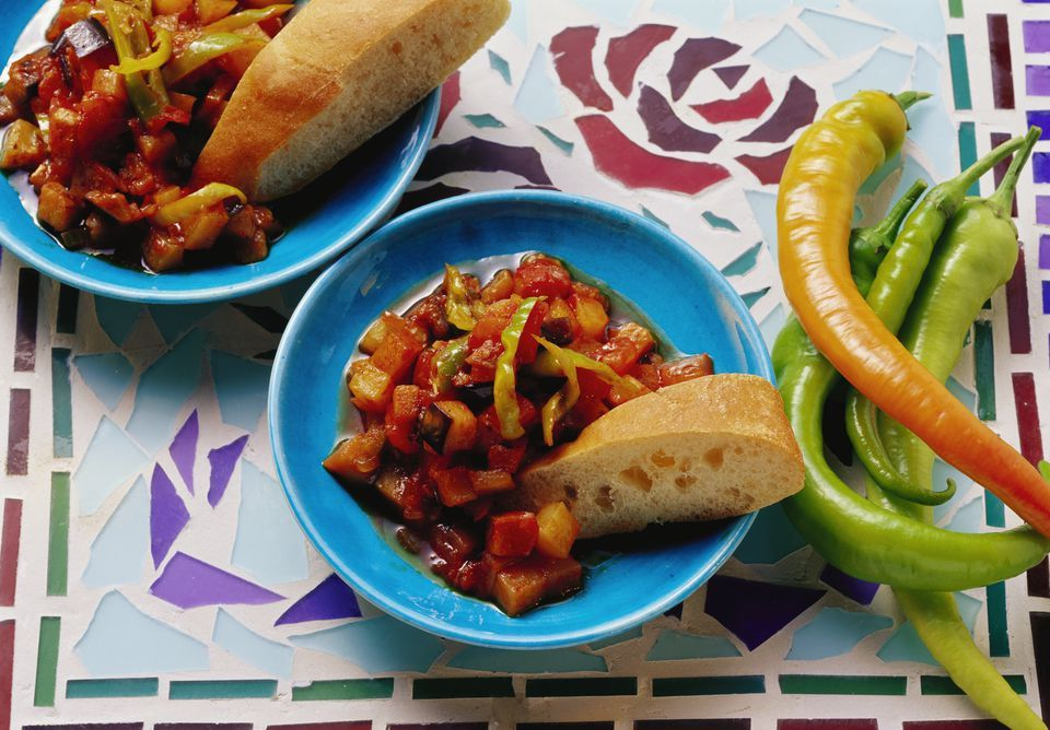 Try this recipe for Turkish şakşuka, a vegetarian ragout of fried eggplant and vegetables in tomato sauce.