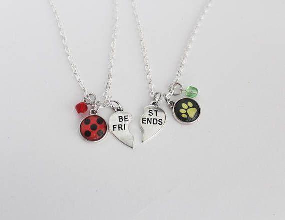 d850a1f7b364 Ladybug Chat Noir BFF collar conjunto de la amistad joyería ...