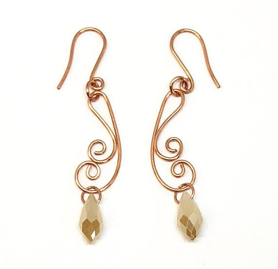 Beautiful wire earrings with faceted teardrop champagne beads, made ...