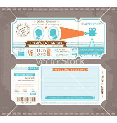 Concert Ticket Invitation Template Beauteous Movie Ticket Wedding Invitation Design Template Vector  50Th .