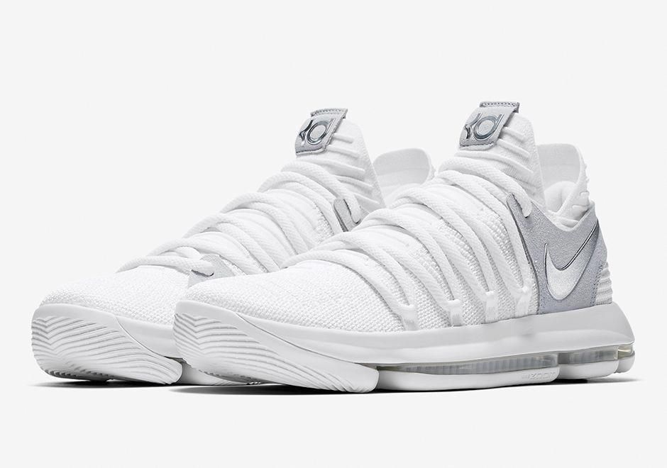 The Nike Kd 10 Still Style Code 897815 100 Will Release June 1st 2017 For 150 Usd Featuring A White Chrome Upper Just In Time Nba Finals