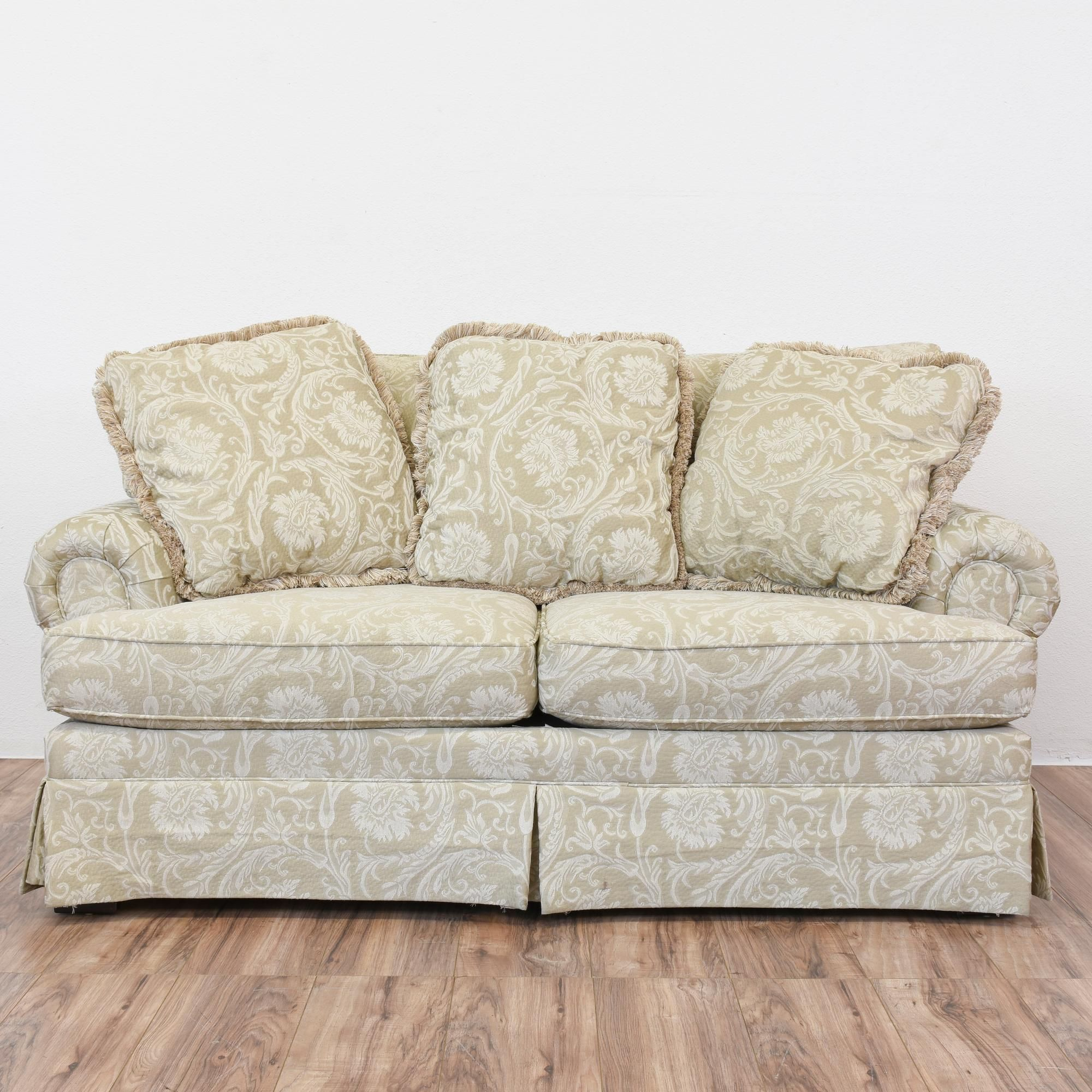Beige Damask Loveseat Sofa