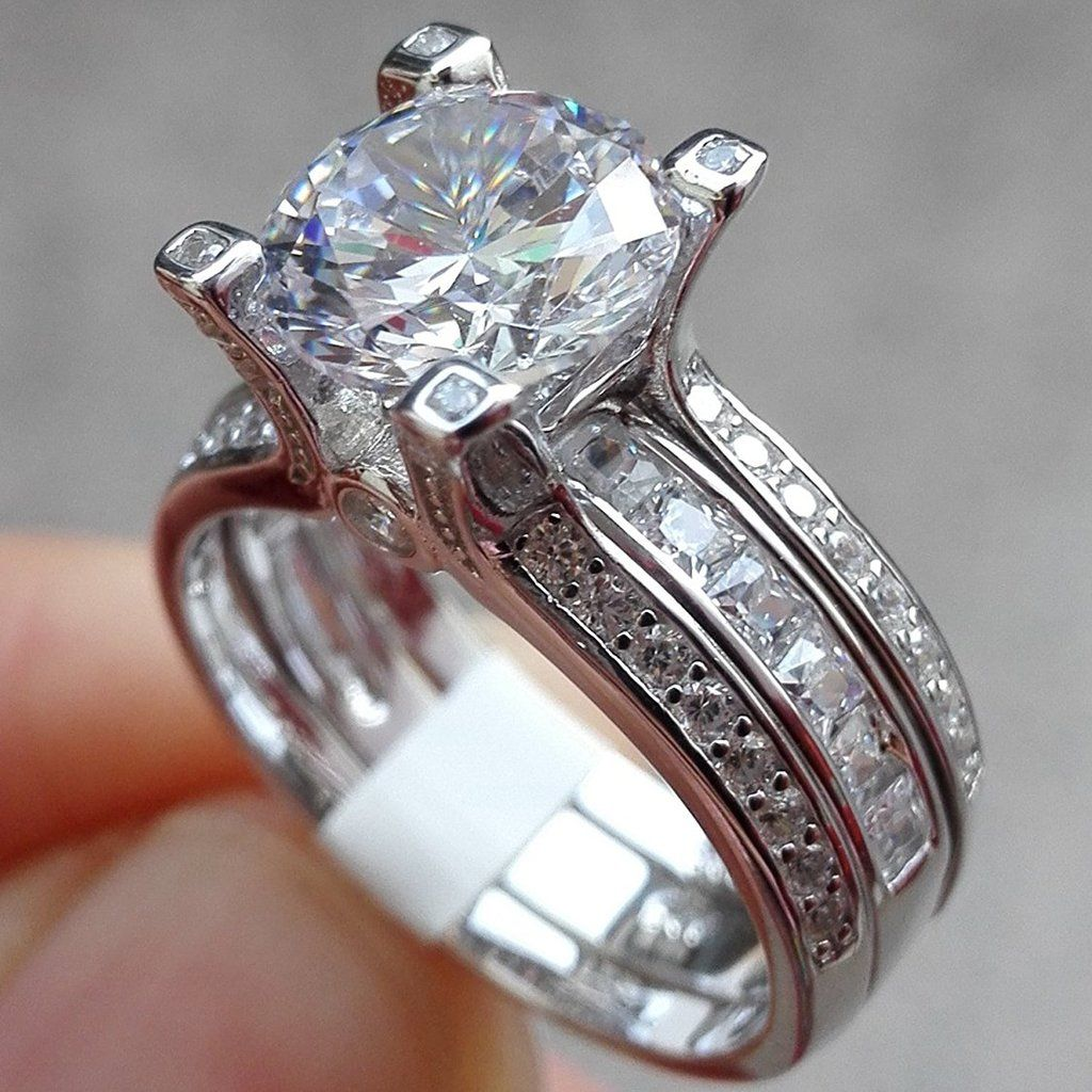 Round White Cz 925 Sterling Silver Wedding Band Engagement