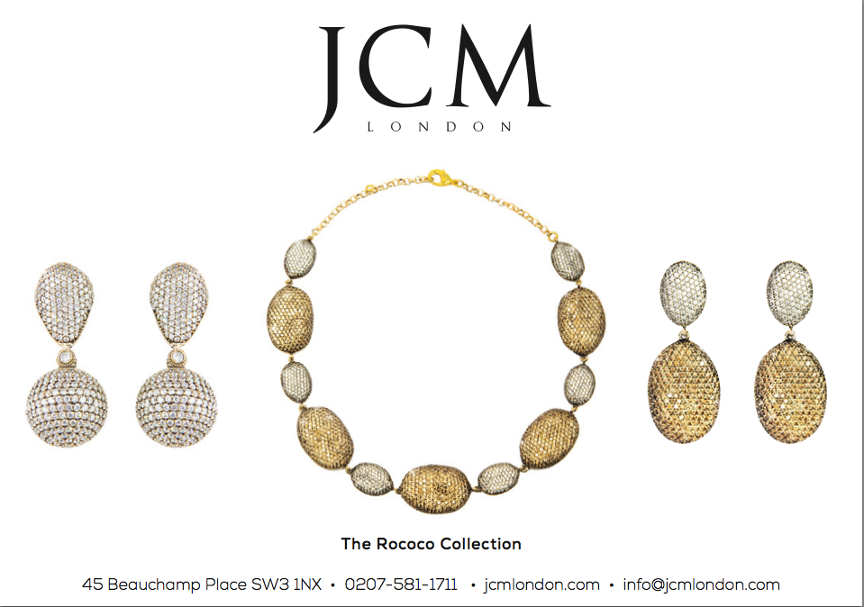JCM London Rococo collection advertised in Absolutely Magazine, April 2015