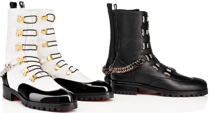 b371fa7413b Christian Louboutin 'Horse Guarda' Chain-Trimmed Leather Boots ...