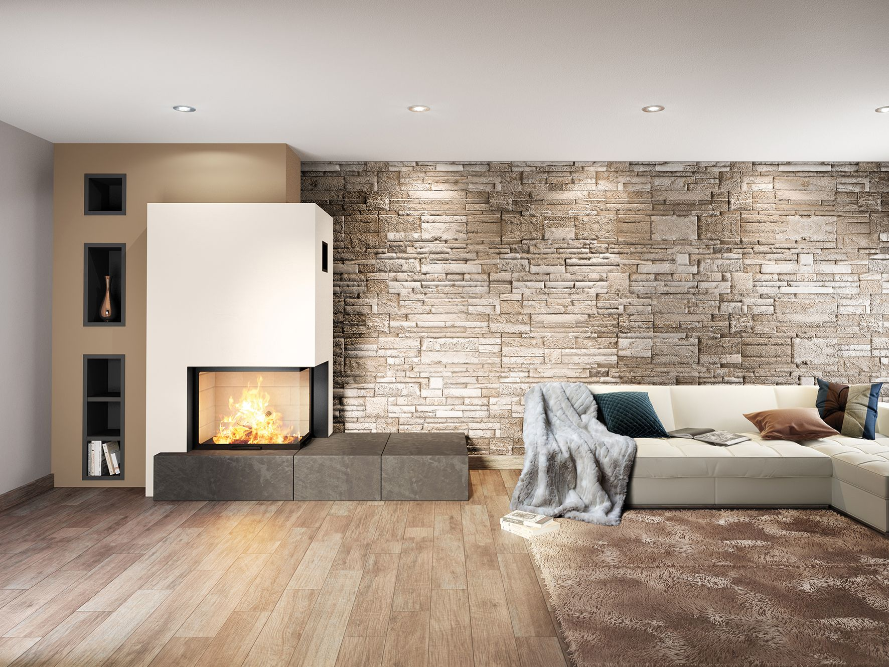 Axis h vld two sided fireplace made in france the axis h