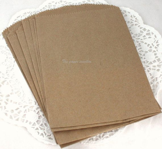 100 sacchetti kraft o sacchetti di carta bianca di ThePaperSandbox 5x7cm 6,92+21