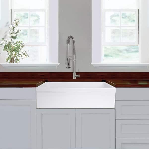 Highpoint Collection 36 Inch Single Bowl Fireclay Farmhouse Kitchen Sink 36 Italian Fireclaysink W Decorative Edge White Farmhouse Sink Kitchen Farm Sink White Farmhouse Sink
