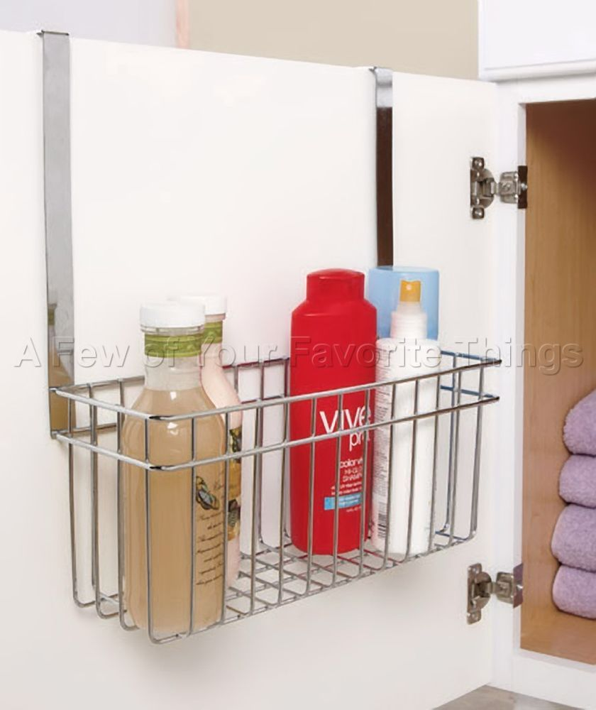 Over The Cabinet Basket Chrome Over Cabinet Door Towel Bar With Basket Bathroom Organizer