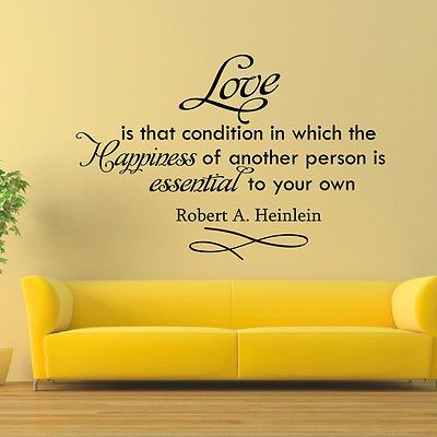 Robert Heinlein Quotes Wall Decal Vinyl Sticker Robert Heinlein Quote Love Is That Bedroom .