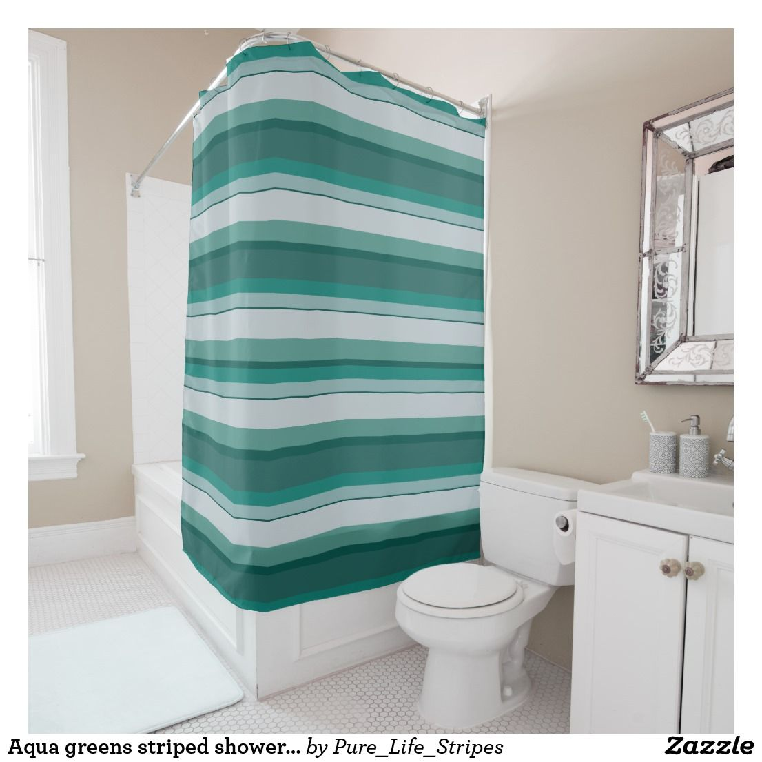 Aqua Greens Striped Shower Curtain