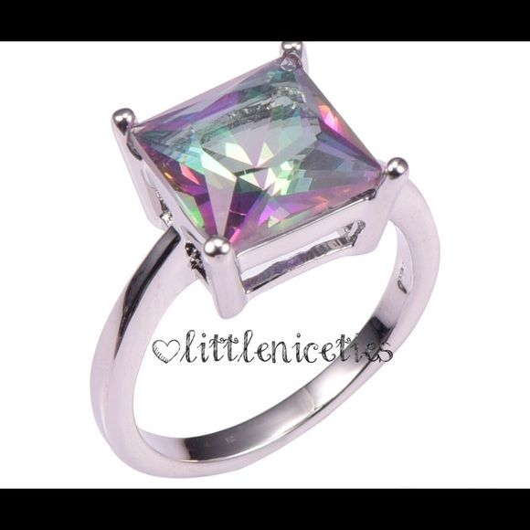 1 carat rainbow topaz ring 1 carat .925 sterling silver rainbow topaz in square cushion cut. Little Niceties Jewelry Rings