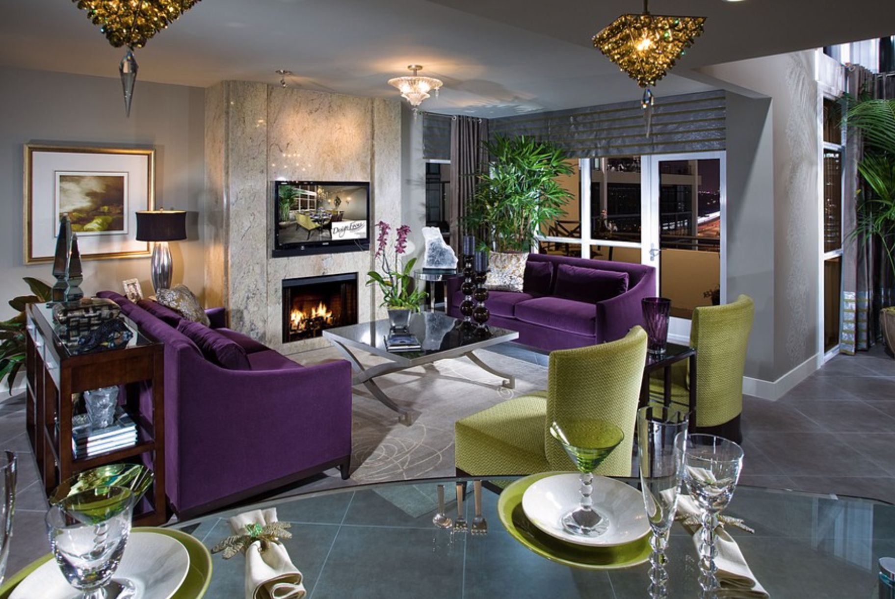 purple velvet sofas green chairs glamor luxury living room