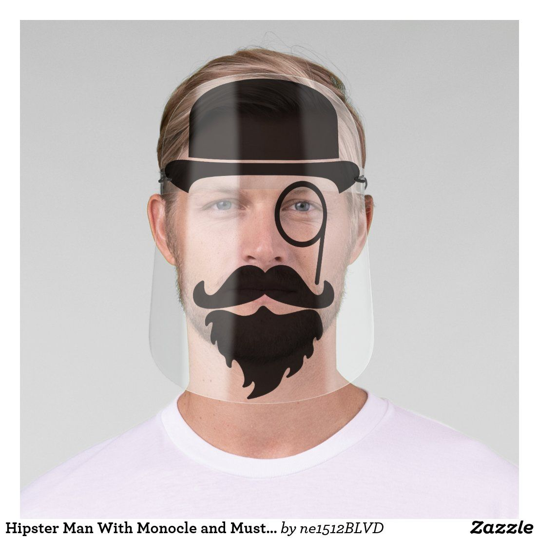 Hipster man with monocle and mustache beard face shield