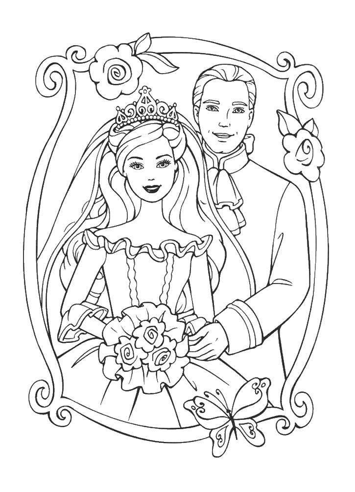 Название: Раскраска Жених и невеста. Категория: свадьба ...