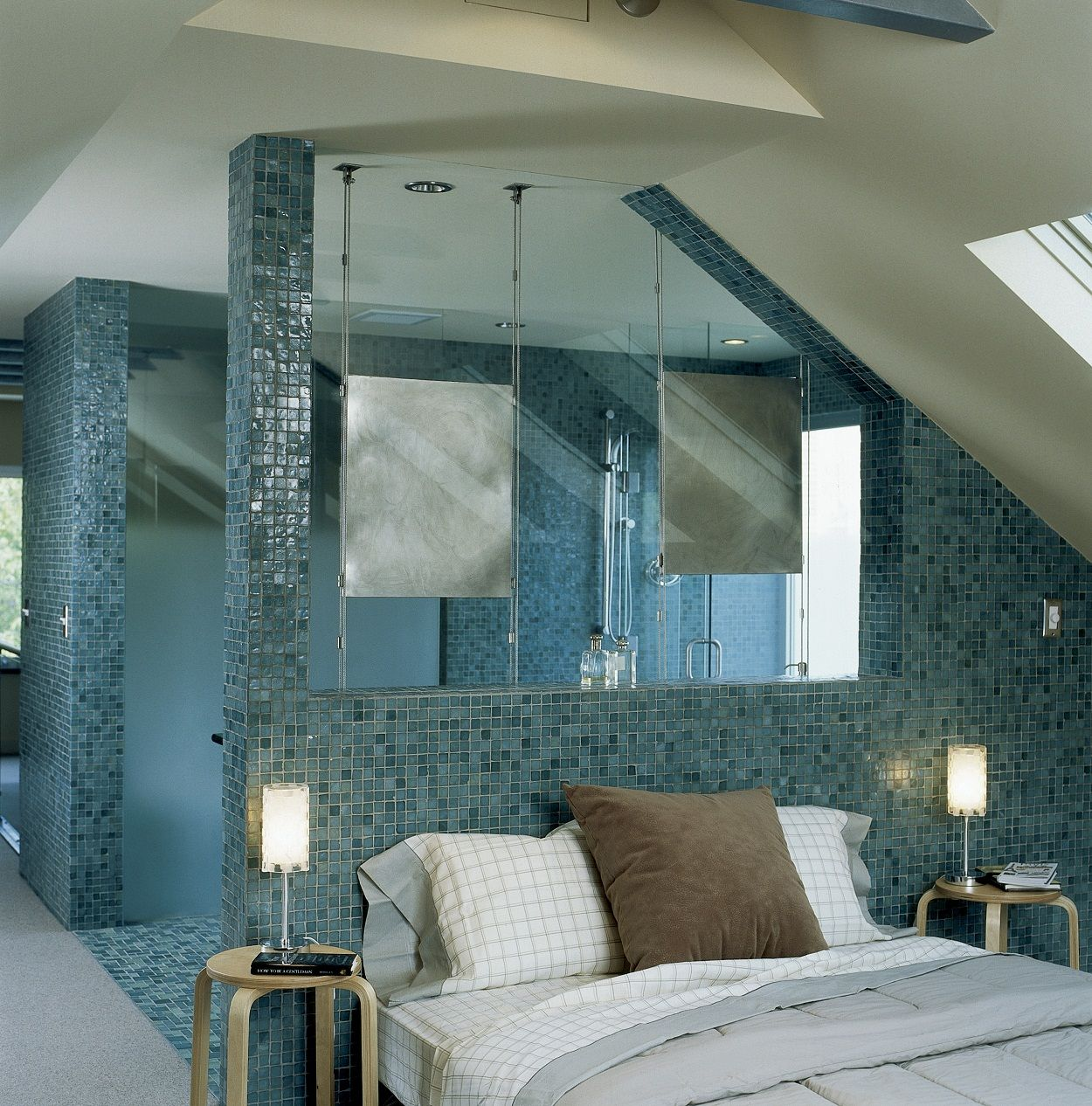 Oceanside Glass Tile as bedroom feature wall Feature