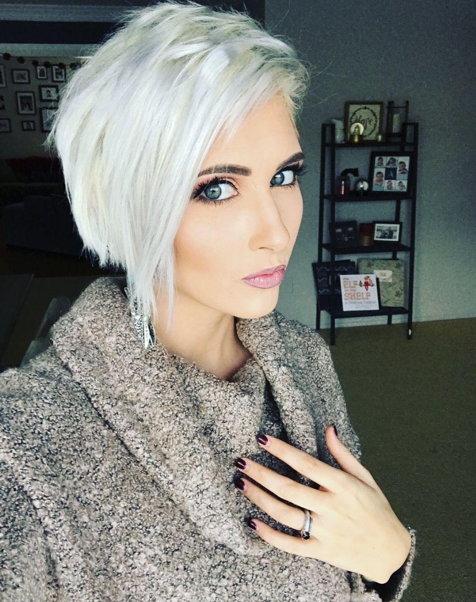 Platinum Pixie Hair Cut Ice White Pixie Hair Long Pixie Blonde Pixie