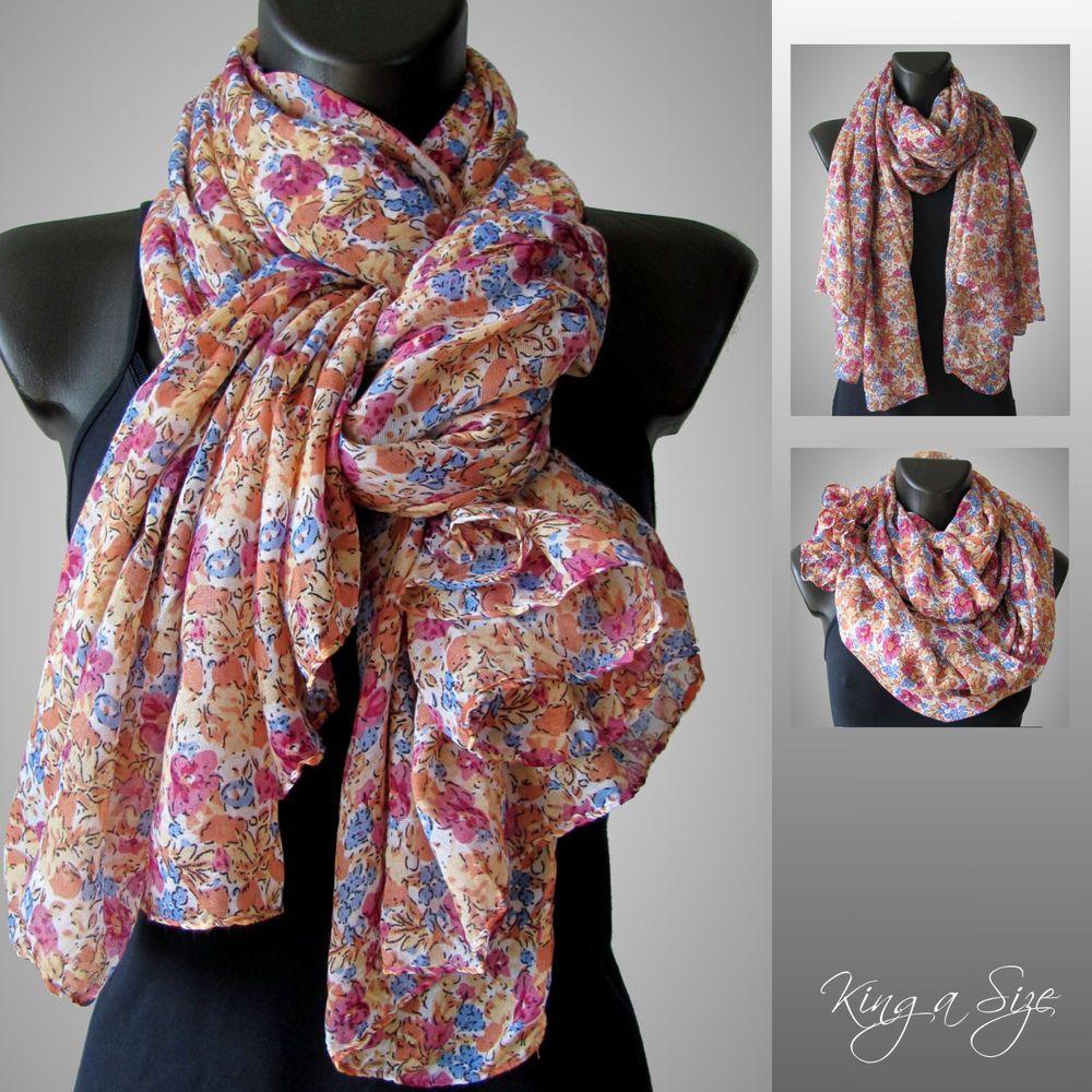 schal xxl scarf pareo tuch loop halstuch cloth blumen muster lc 6 - Schal Muster
