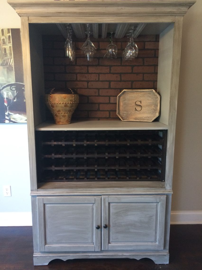 Turned an old entertainment center into a wine bar diy ideas and