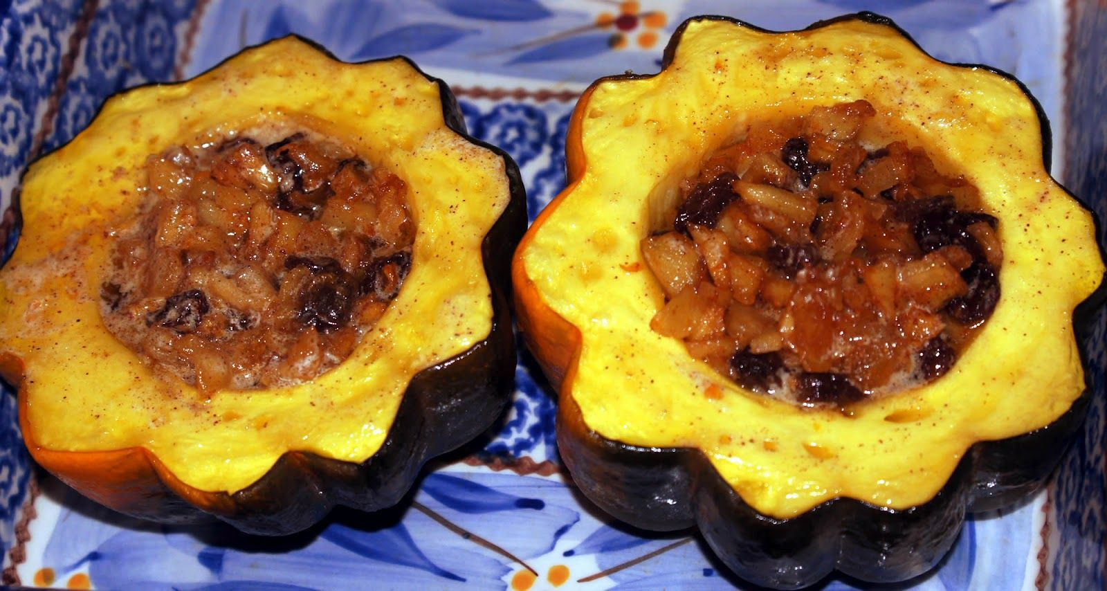 Little Bit Of Everything Baked Acorn Squash With Apple Filling