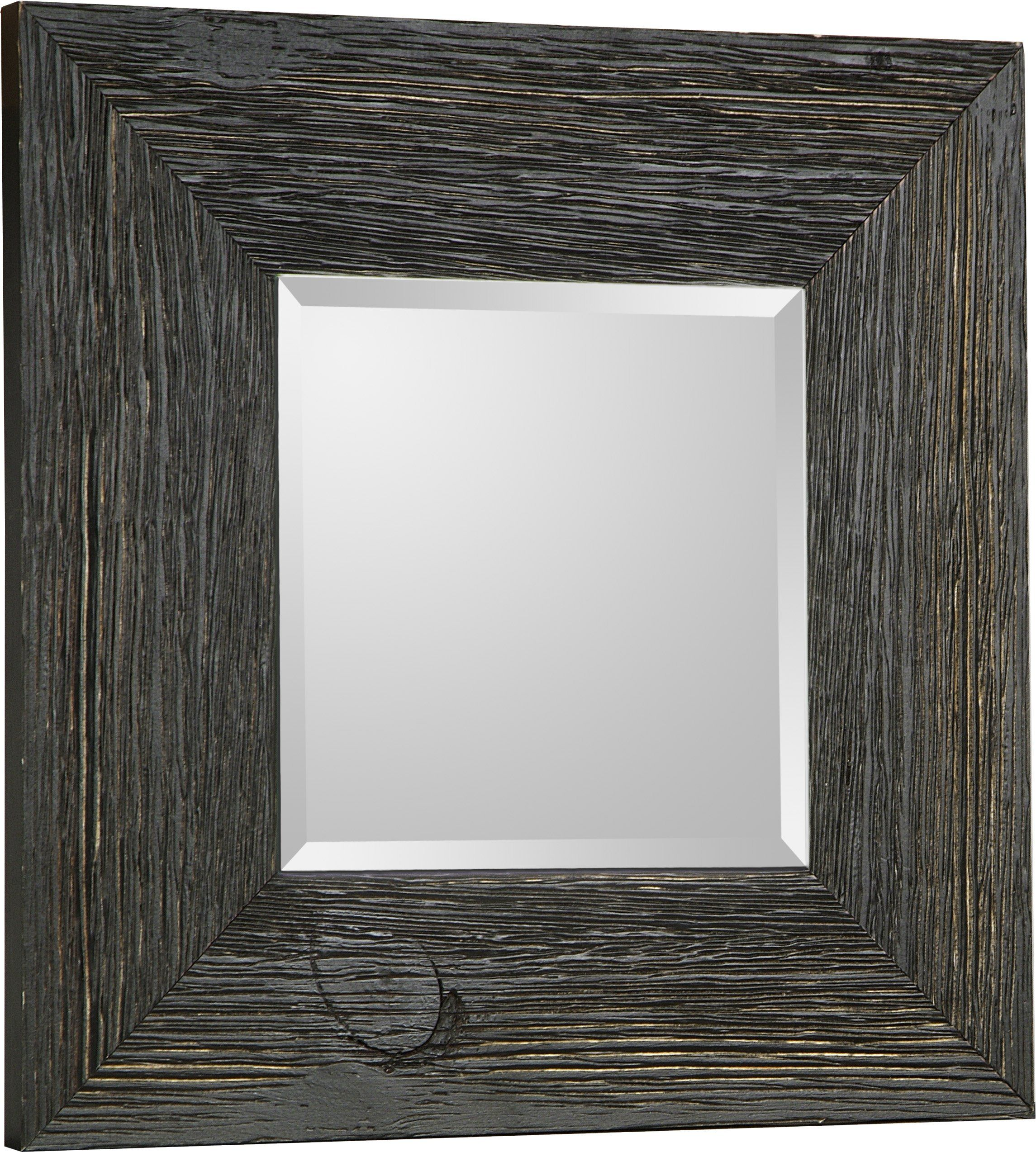 Hobbitholeco Square Beveled Accent Hanging Wall Decorative Mirror With Black