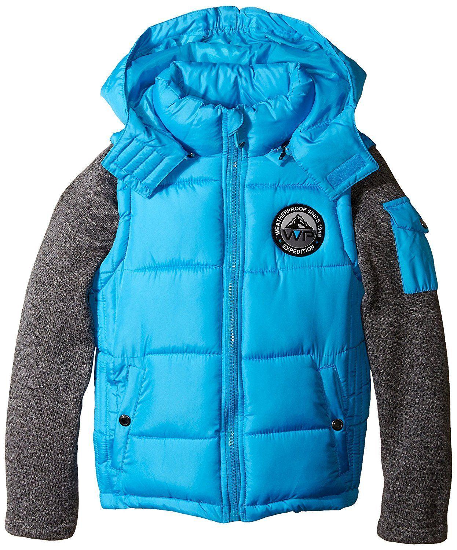 Weatherproof Little Boys Puffer Jacket With Knit Fleece Sleeves And Detachable Hood 2t Aqua Blue Quilted Boys Puffer Jacket Puffer Jackets Detachable Hood [ 1500 x 1246 Pixel ]