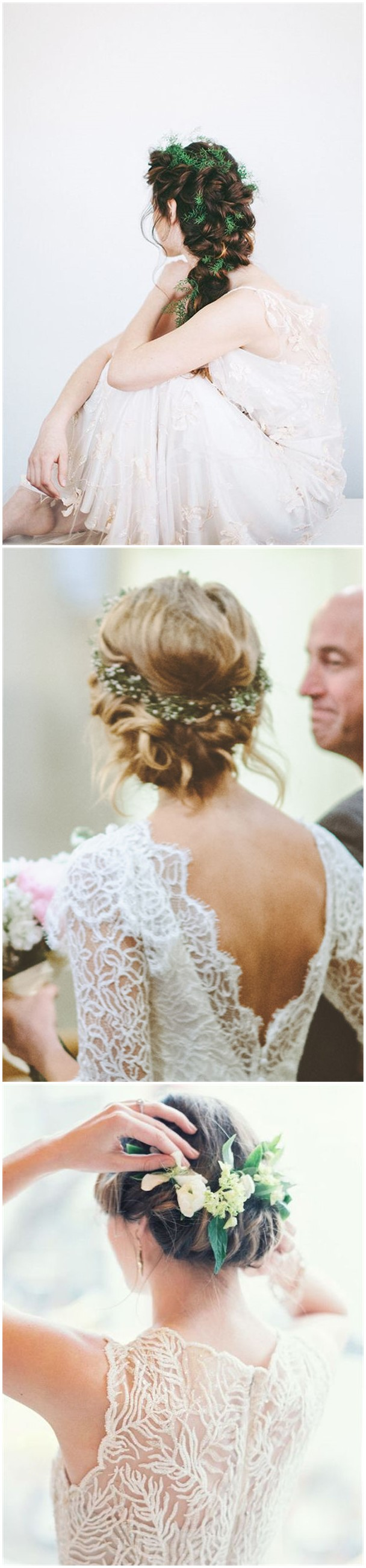 18 Wedding Updo Hairstyles with Greenery Decorations | Greenery ...