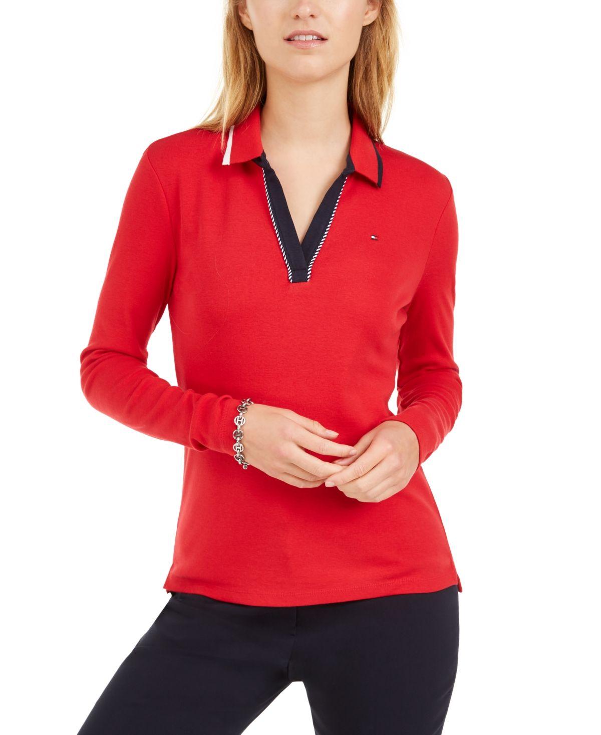 Tommy Hilfiger Cotton Long-Sleeve Polo Shirt - Scarlet | Uzun etek ...