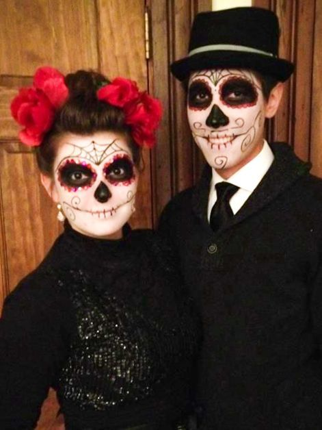 Dia de los muertos couple costumes google search halloween pinterest clown horreur - Maquillage halloween couple ...