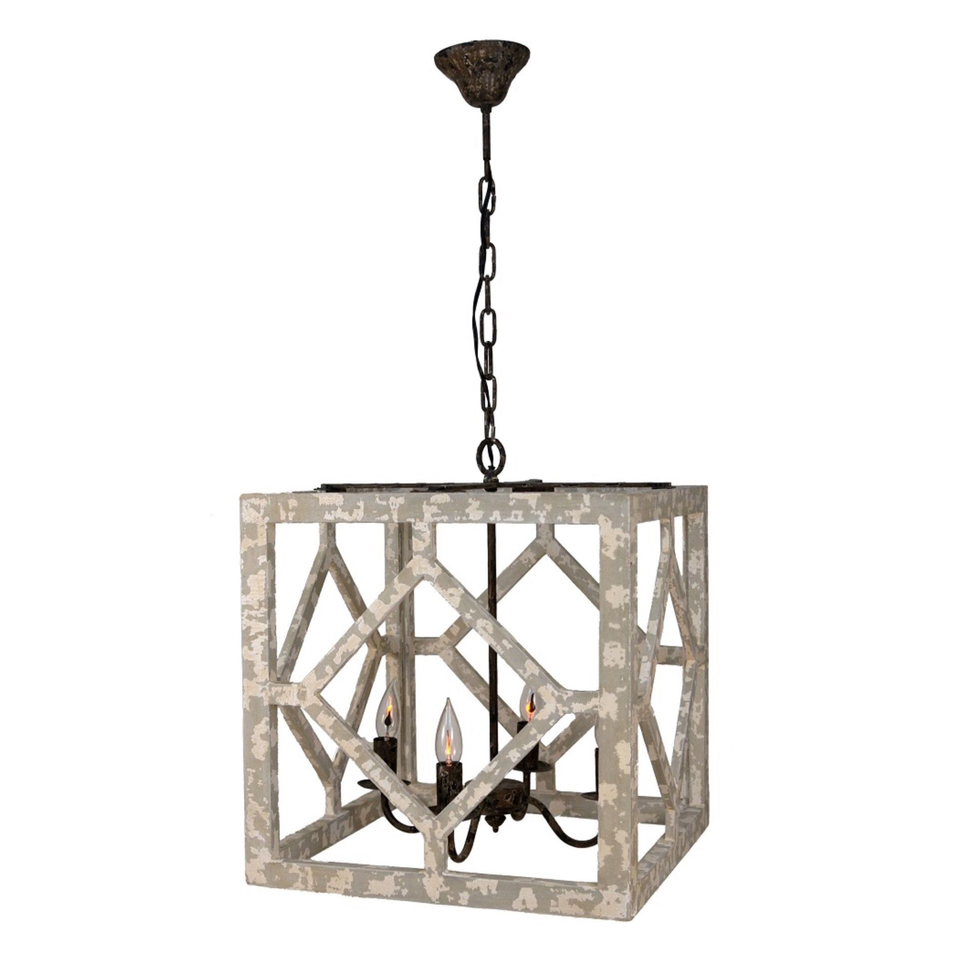 Diamond Lantern (Ivory And Gray) Rustic Light Fixturesgeometric