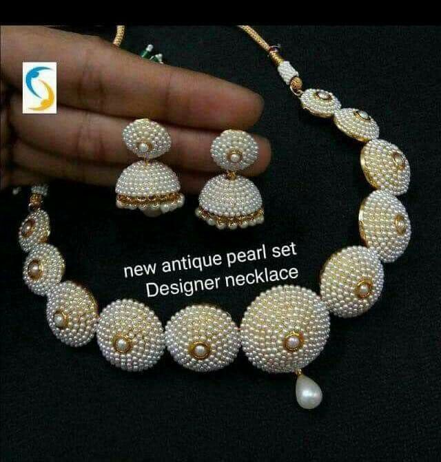 Pin By Sara On Simple Set Design Silk Thread Earrings Designs Beaded Necklace Diy Handmade Fashion Jewelry