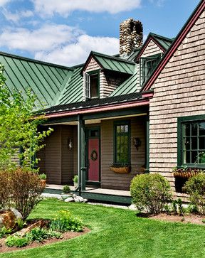Green Metal Roof Design Ideas Pictures Remodel And Decor Green Roof House Farmhouse Exterior Cabin Exterior Colors
