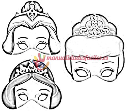 Mascaras de princesas para imprimir, pintar y recortar | Photo