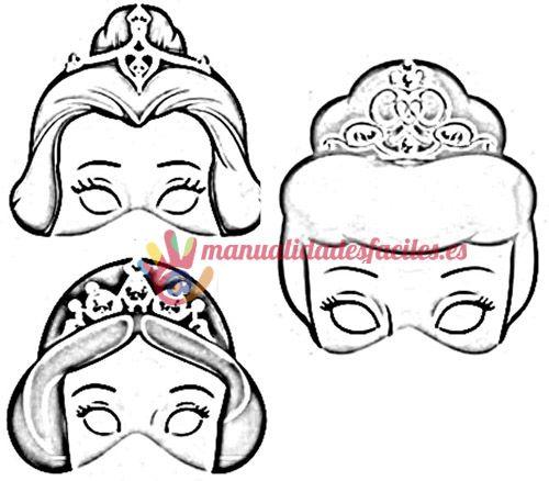 Mascaras de princesas para imprimir, pintar y recortar.