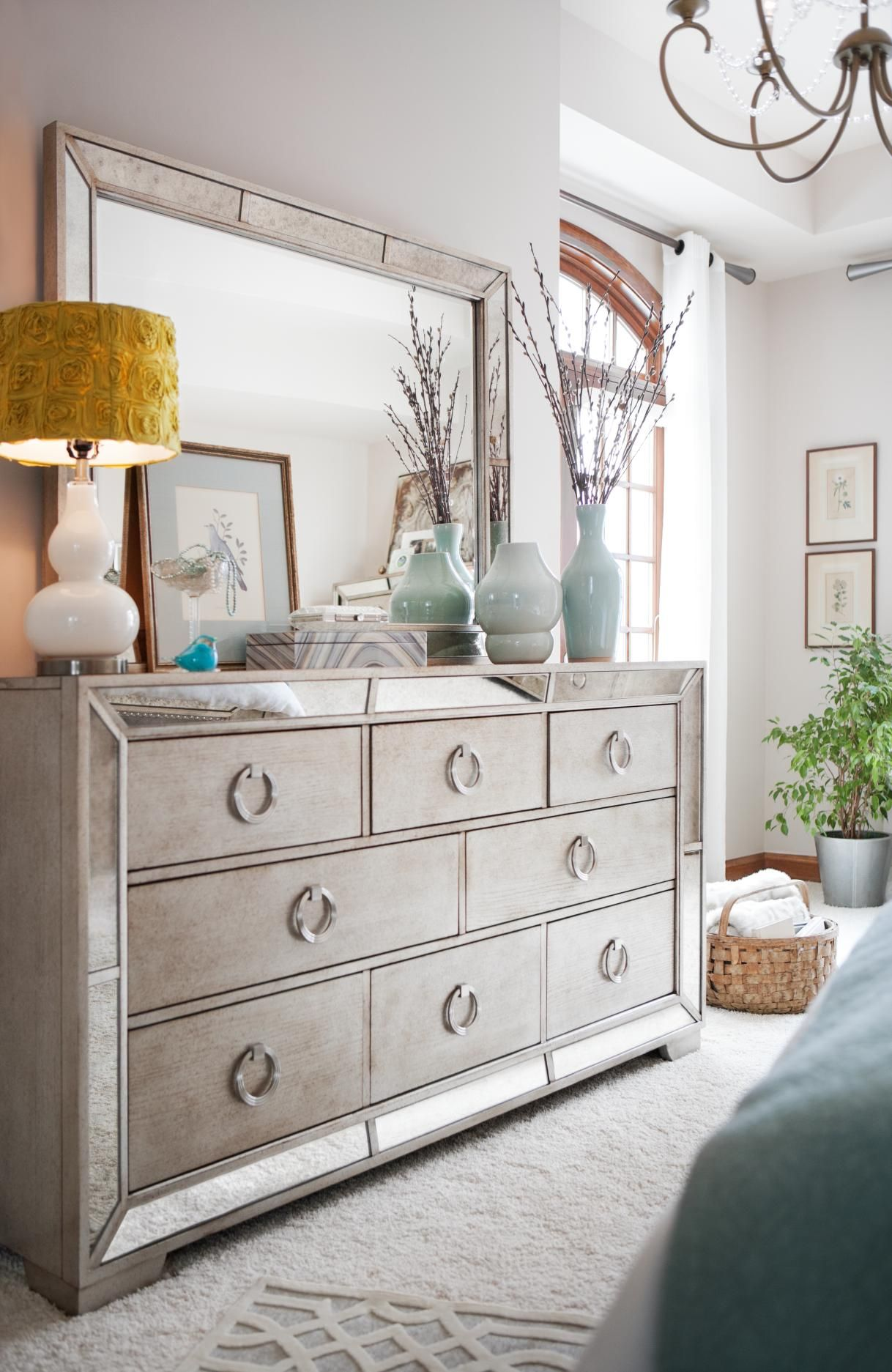 Angelina Dresser And Mirror Mirrored Bedroom Furniture