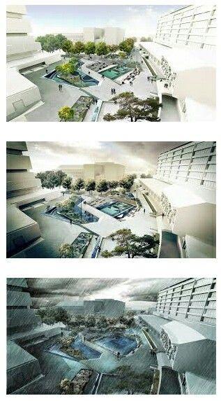 Concept Waterplein; trapsgewijs verdiept plein voor de opvang van regenwater