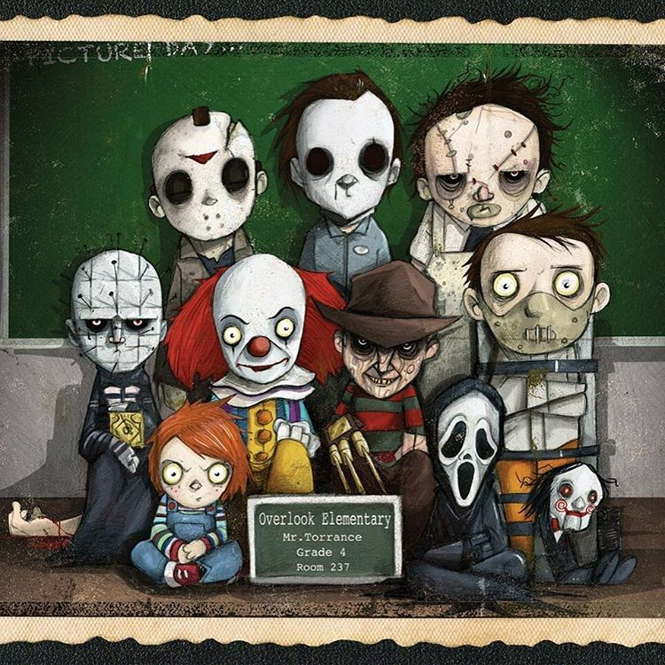 Who wouldn't want to teach this class? Here is my Overlook Elementary class photo. This one is for you @epiccomicpics #nightmareonelmstreet #fridaythe13th #jasonvoorhees #horror #horrormovies #it #pennywise #texaschainsawmassacre #leatherface #scream...