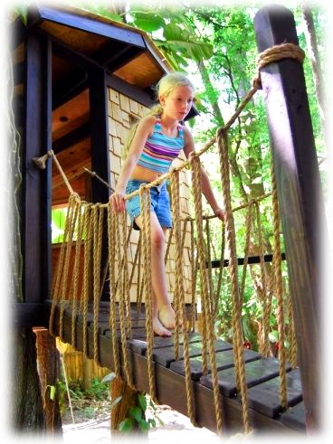 Girl on rope bridge outdoor games pinterest tree houses and treehouse also rh