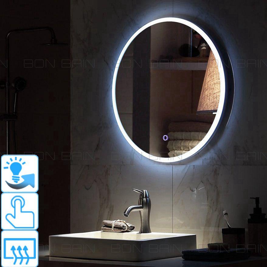 Miroir De Salle De Bain Rond Argente Eclaire Encadre Par Led Touche Sensitive Integree Diametre 600 Mm Prix Miroir Lumineux Miroir Salle De Bain Led Miroir