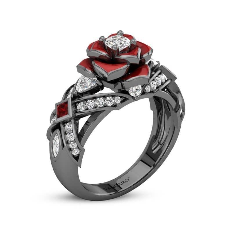 Black Ring With Red Rose Flower Design Black Rings Black Rose Ring Rose Engagement Ring
