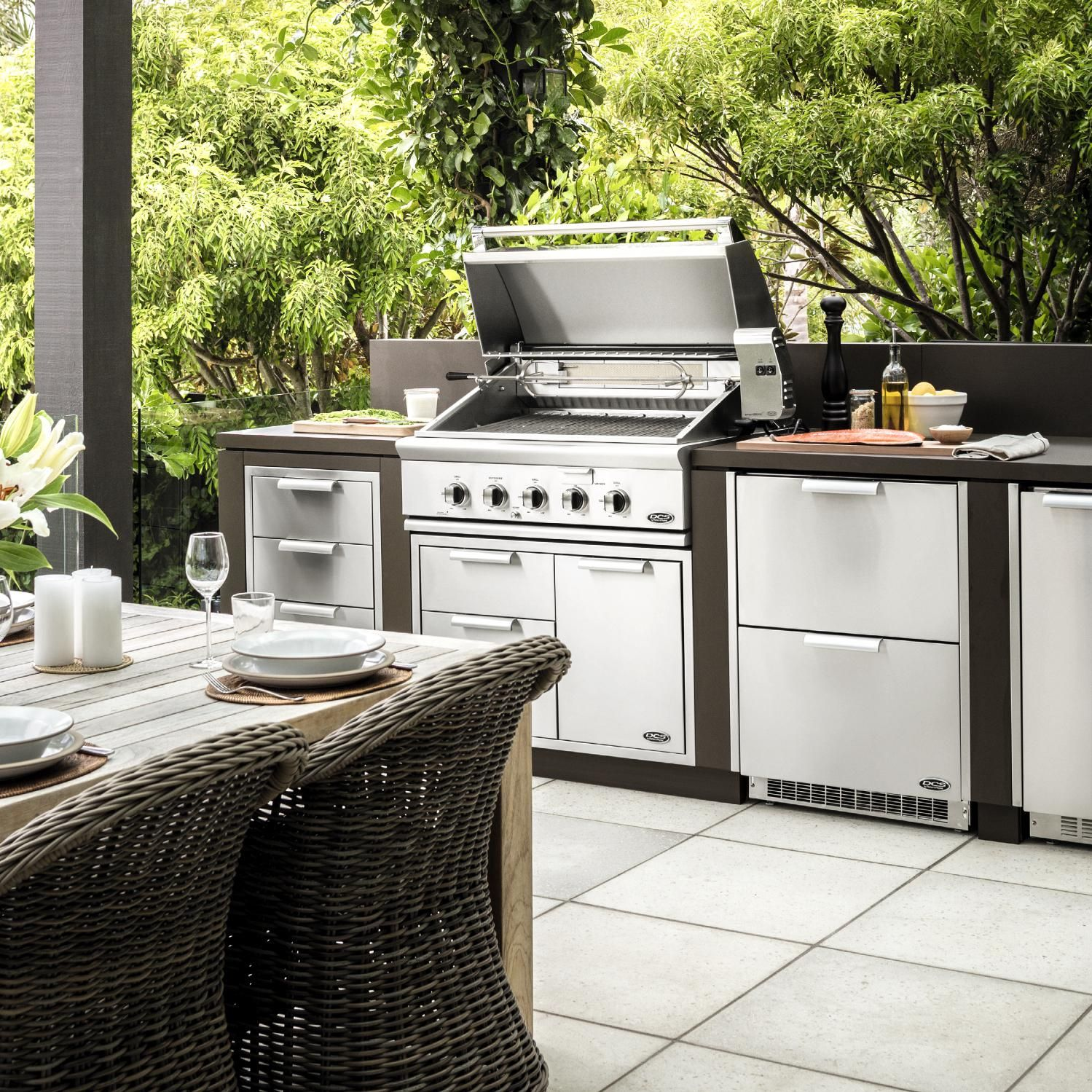 Dcs Series 7 Traditional 36 Inch Built In Natural Gas Grill With Rotisserie Bh1 36r N Outdoor Kitchen Plans Outdoor Kitchen Design Built In Gas Grills