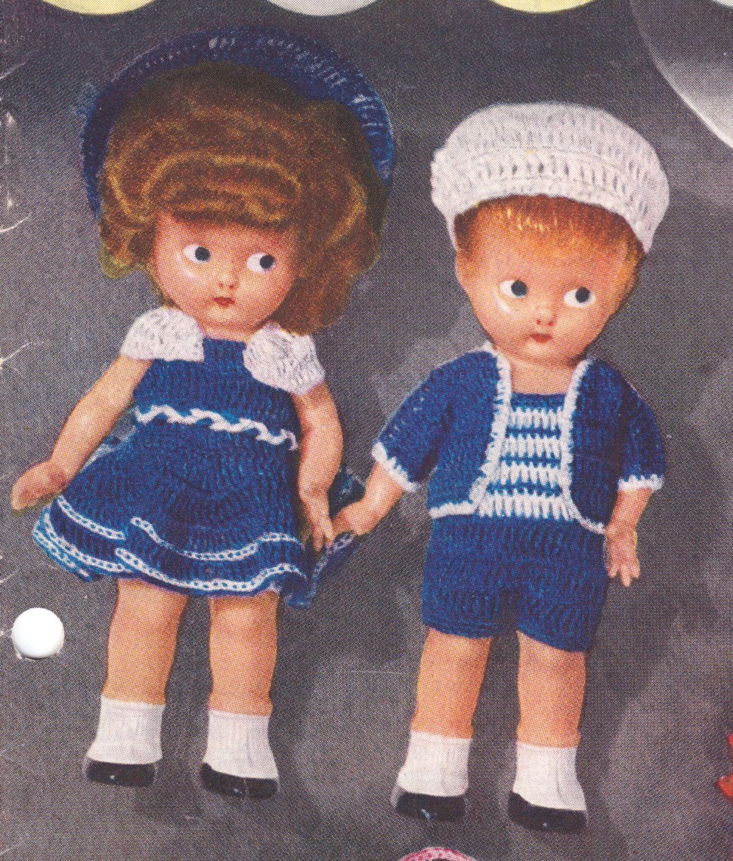 8ply or D.K COPY  doll knitting patterns CABBAGE PATCH BOY /& GIRL SET