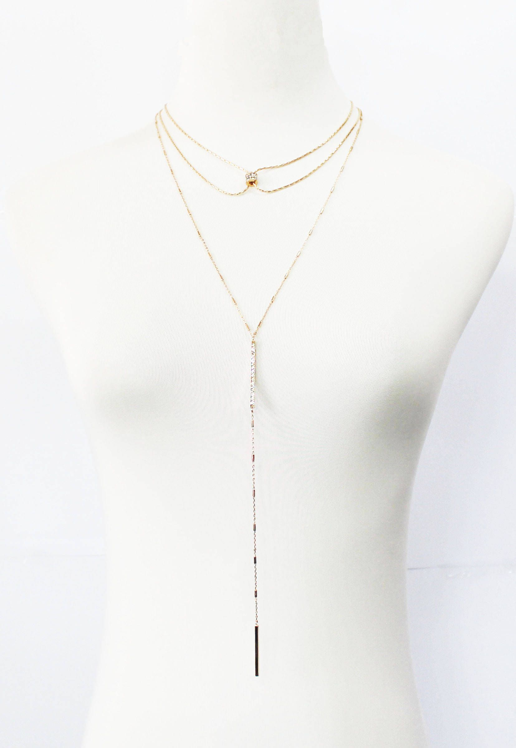 pink created white necklace bar adore curved with jewellery swarovski gold crystals necklaces mini zoom