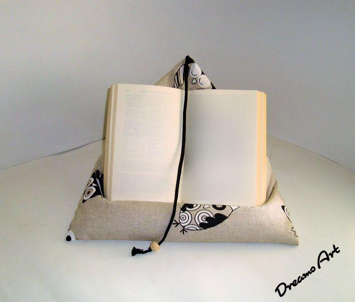 Подушка - чтение подушки, подушки книга, совы поддержки планшетных - дизайнер кусок мечты искусства на DaWanda
