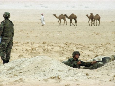 Pfc. Michael James of Wapappello, Miss., with the 24th Mechanized Infantry Division, digs a foxhole while a shepherd drives his camels to a watering hole somewhere in the northern Kuwaiti desert, Oct. 19, 1994. Despite the withdrawal of Iraqi troops from positions near Kuwait's northern border, the U.S. troop build-up in the region continues.
