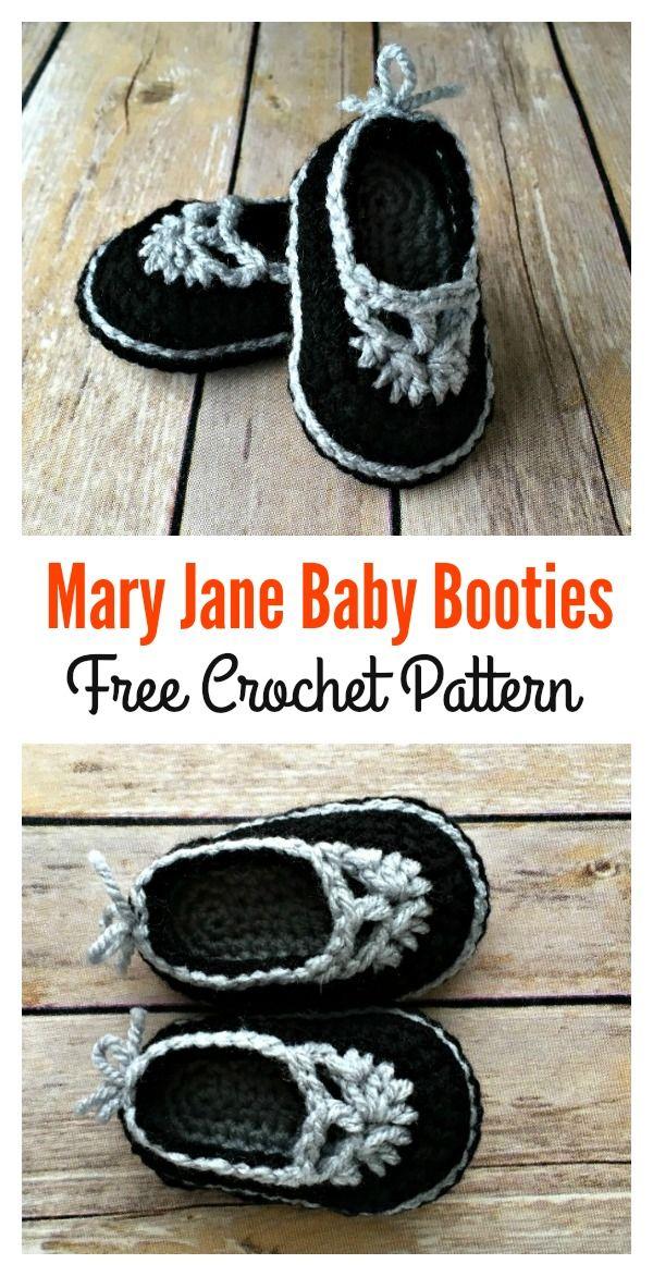 Crochet Baby Mary Jane Booties Free Patterns | Deti