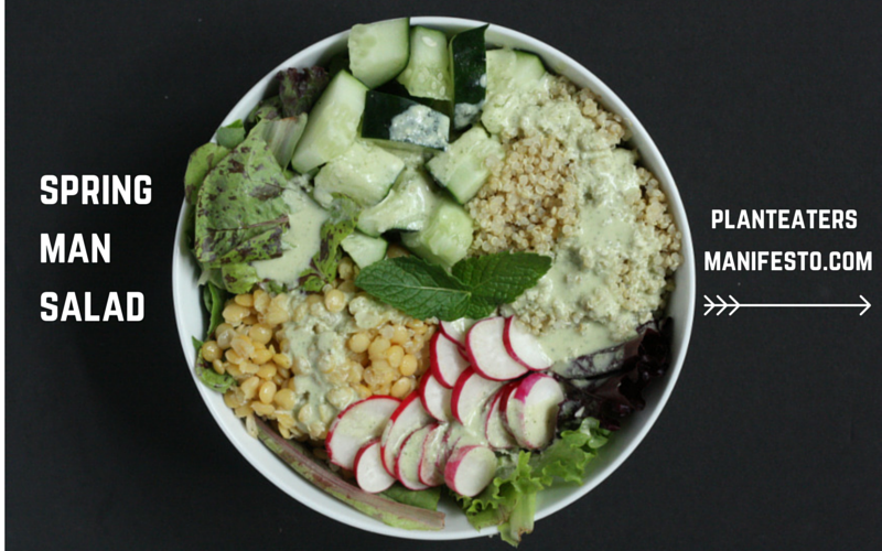 Spring Man Salad with Creamy Lemon-Mint Dressing // Manly enough for a meal // #vegan